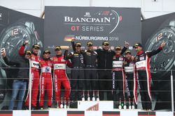 Podium: Endurance Cup Champion #58 Garage 59, McLaren 650 S GT3: Duncan Tappy, Rob Bell, Côme Ledogar with Bas Leinders; AM-Pro Winners #11 Kessel Racing, Ferrari 488 GT3: Michal Broniszewski, Alessandro Bonacini, Andrea Rizzoli;AM-Cup winners #888 Kessel Racing, Ferrari 458 Italia GT3: Marco Zanuttini, Vadim Gitlin, Liam Talbot