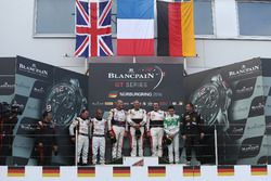 Podium AM-Cup: Winners #87 AKKA ASP, Mercedes-AMG GT3: Maurice Ricci, Jean-Luc Beaubelique, Gilles Vannelet; second place #30 Team Parker Racing, Bentley Continental GT3: Derek Pierce, Chris Harris; third place #333 Rinaldi Racing, Ferrari 488 GT3: Pierre Ehret, Rinat Salikhov
