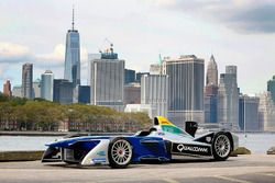 A Formula E car with the New York City skyline