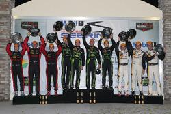 Overall podium: winners Johannes van Overbeek, Scott Sharp, Ed Brown, Pipo Derani, ESM Racing, secon