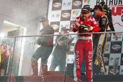 Podium: third place John Bowe celebrates with champagne
