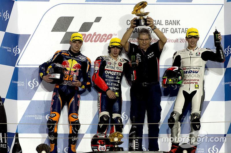 Podium : le vainqueur Niccolò Antonelli, Ongetta-Rivacold, Honda; le deuxième Brad Binder, Red Bull KTM Ajo, KTM, le troisième Francesco Bagnaia, Aspar Team Mahindra, Mahindra