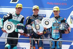Podium: race winner Brad Binder, Red Bull KTM Ajo, second place Andrea Locatelli, Leopard Racing, third place Aron Canet, Estrella Galicia 0,0