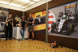 (L to R): Sergio Perez, Sahara Force India F1 and team mate Nico Hulkenberg, Sahara Force India F1 take part in the Hype Energy Challenge
