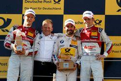 Podium: le deuxième Mattias Ekström, Audi Sport Team Abt Sportsline, Audi A5 DTM; Stefan Reinhold, BMW Team RMG; le vainqueur Timo Glock, BMW Team RMG, BMW M4 DTM; le troisième Jamie Green, Audi Sport Team Rosberg, Audi RS 5 DTM