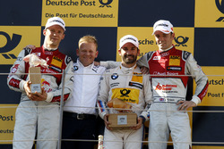 Podium: second place Mattias Ekström, Audi Sport Team Abt Sportsline, Audi A5 DTM; Stefan Reinhold, BMW Team RMG; Race winner Timo Glock, BMW Team RMG, BMW M4 DTM; third place Jamie Green, Audi Sport Team Rosberg, Audi RS 5 DTM