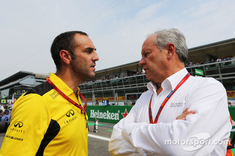 (L to R): Cyril Abiteboul, Renault Sport F1 Managing Director with Frederic Vasseur, Renault Sport F1 Team Racing Director