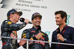 (L to R): Max Verstappen, Red Bull Racing on the podium with team mate Daniel Ricciardo, Red Bull Ra