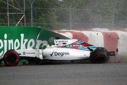 Felipe Massa, Williams FW38 dans le mur en essais