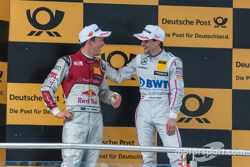 Mattias Ekström, Audi Sport Team Abt Sportsline, Audi A5 DTM, and Lucas Auer, Mercedes-AMG Team Mücke, Mercedes-AMG C63 DTM, having fun at the Podium
