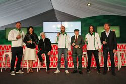 (L to R): Scott Quinnell, Former Rugby Player; Stephanie Sigman, Actress; Bernie Ecclestone; Gianluca di Tondo, Heineken Global Head of Brand; Jackie Stewart; Carles Puyol, Former Football Player and David Coulthard, Red Bull Racing and Scuderia Toro Rosso Advisor / Channel 4 F1 Commentator, at a Heineken sponsorship announcement