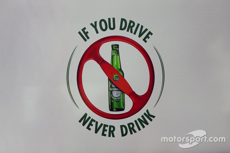 Annonce du sponsoring Heineken : bannière pour la lutte contre l'alcool au volant