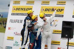Selfie time Podium: Race winner Jason Plato, Subaru Team BMR; Colin Turkington, Subaru Team BMR; Jac