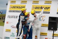 Selfie time Podium: Race winner Jason Plato, Subaru Team BMR; Colin Turkington, Subaru Team BMR; Jack Goff, Team IHG Rewards Club