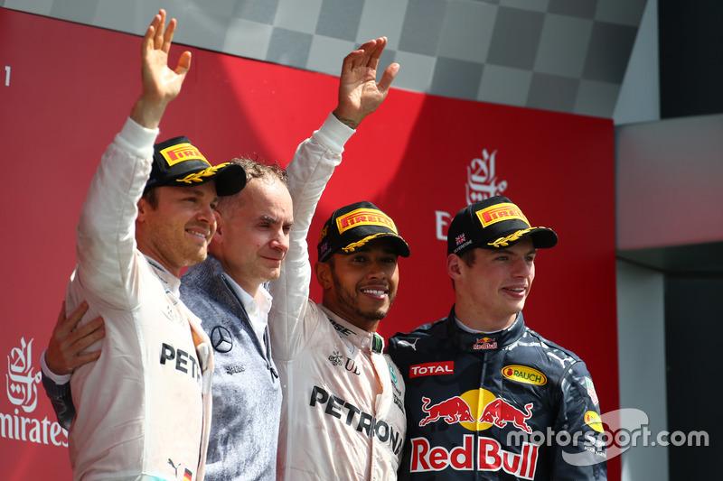 2016 - 1. Lewis Hamilton, 2. Nico Rosberg, 3. Max Verstappen