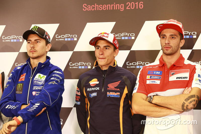 Jorge Lorenzo, Yamaha Factory Racing, Marc Marquez, Repsol Honda Team and Andrea Iannone, Ducati Team