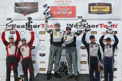 GTD podium: winners #44 Magnus Racing Audi R8 LMS: John Potter, Andy Lally, second place #6 Stevenson Motorsports Audi R8 LMS GT3: Andrew Davis, Robin Liddell, third place #33 Riley Motorsports SRT Viper GT3-R: Ben Keating, Jeroen Bleekemolen