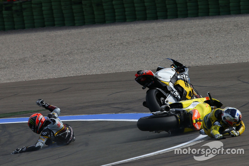 L'incidente tra Mika Kallio, Marc VDS Racing Team e Maverick Viñales, Pons HP 40