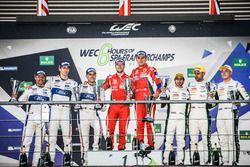 Podium LMGTE Pro: first place Davide Rigon, Sam Bird, AF Corse, second place Marino Franchitti, Andy Priaulx, Harry Tincknell, Ford Chip Ganassi Racing, third place Richie Stanaway, Jonathan Adam, Fernando Rees, Aston Martin Racing