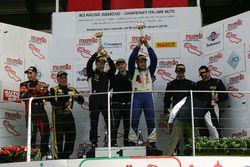 Podio Gara 1 GTCup: al secondo posto Zanardini-Sauto, Master-KR Racing, i vincitori Carboni-Durante, Drive Technology, al terzo posto Di Leo-Poppy, Vago