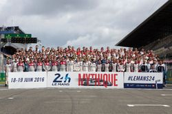 The traditional drivers groupshot for the 2016 24 Hours of Le Mans