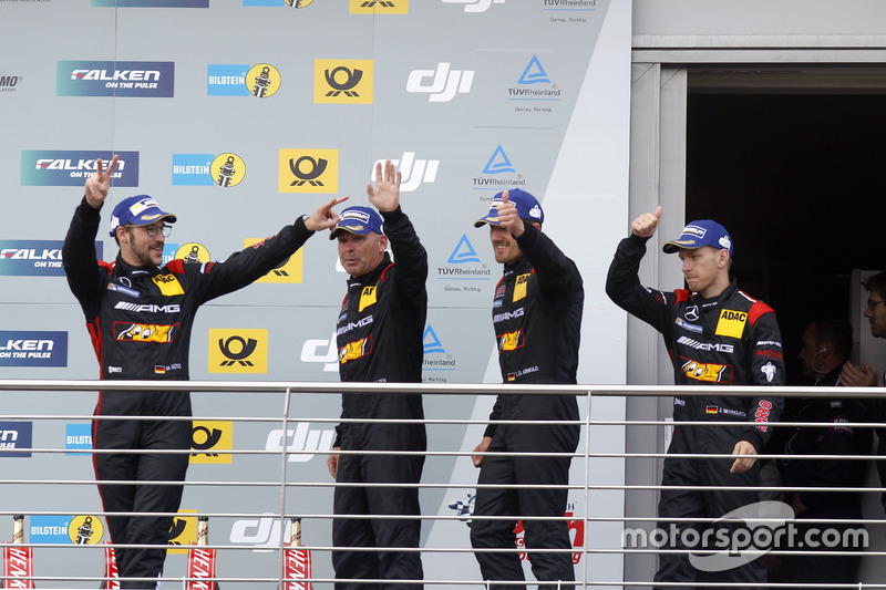 Podium: third place #88 Haribo Racing Team-AMG, Mercedes-AMG GT3: Uwe Alzen, Lance David Arnold; Maximilian Götz, Jan Seyffarth