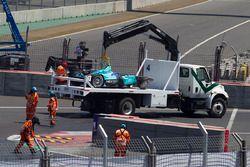 Das Auto von Nelson Piquet Jr., NEXTEV TCR Formula E Team nach dem Crash