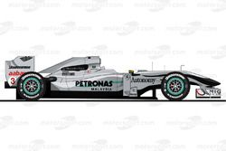 La Mercedes W01 pilotée par Michael Schumacher en 2010<br/> Reproduction interdite, exclusivité Moto