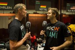 David Coulthard und Sebastian Vettel, im Gesräch mit der Presse