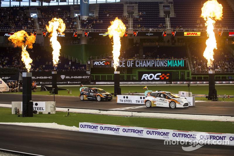 Juan Pablo Montoya, beats Pascal Wehrlein, driving the RX Supercar Lite