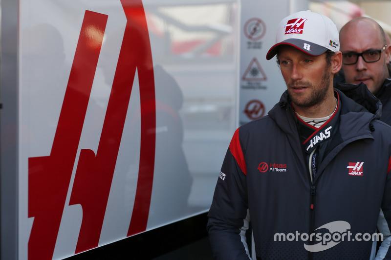 Romain Grosjean, Haas F1 Team, and press officer Stuart Morrison