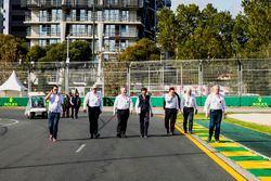 FIA officials walk the track, including, steward Derek Warwick, Charlie Whiting, Race Director, FIA