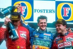Podium: race winner Michael Schumacher, second place Gerhard Berger, third place Rubens Barrichello