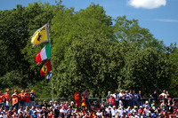 Ferrari fans and flags in the grandstand