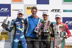 Podium: second place Ferdinand Habsburg, Carlin, Dallara F317 - Volkswagen, Race winner Lando Norris, Carlin, Dallara F317 - Volkswagen, third place Maximilian Günther, Prema Powerteam, Dallara F317 - Mercedes-Benz