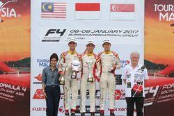 Podium: race winner Presley Martono, second place Isyraf Danish, third place Danial Frost