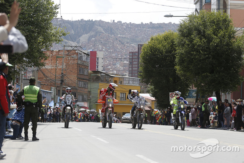 #42 Hero MotoSports Team Rally: CS Santosh, #8 Himoinsa Racing Team KTM: Gerard Farrés, #87 Team Pedrega KTM: Cristian España, #12 Sherco TVS Rally Factory: Joan Pedrero
