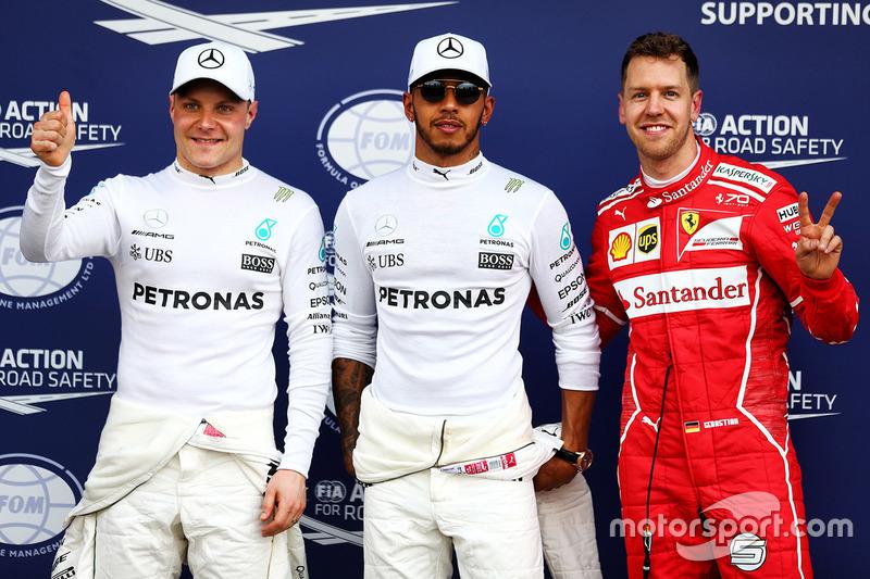 Lewis Hamilton, Mercedes AMG F1; Sebastian Vettel, Ferrari; Valtteri Bottas, Mercedes AMG F1