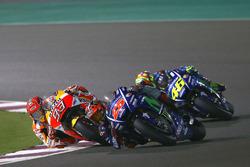 Maverick Vinales, Yamaha Factory Racing; Marc Marquez, Repsol Honda Team; Valentino Rossi, Yamaha Factory Racing