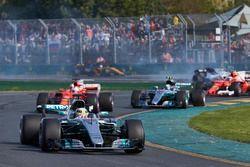 Lewis Hamilton, Mercedes AMG F1 W08, leads Sebastian Vettel, Ferrari SF70H, and Valtteri Bottas, Mer
