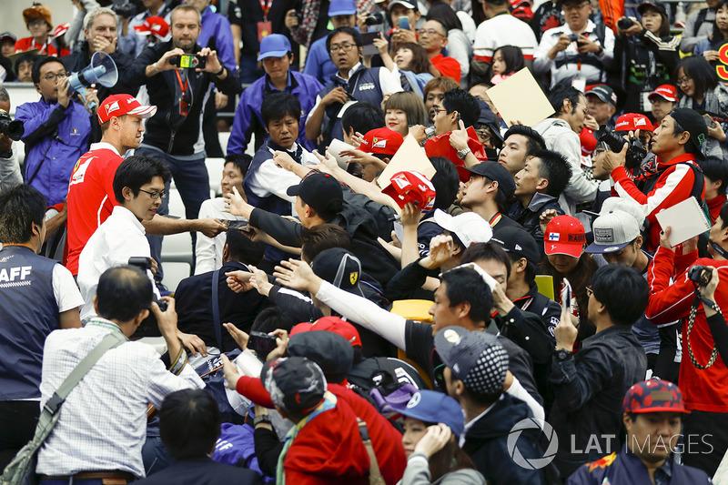 Sebastian Vettel, Ferrari, meets fans in the grandstand