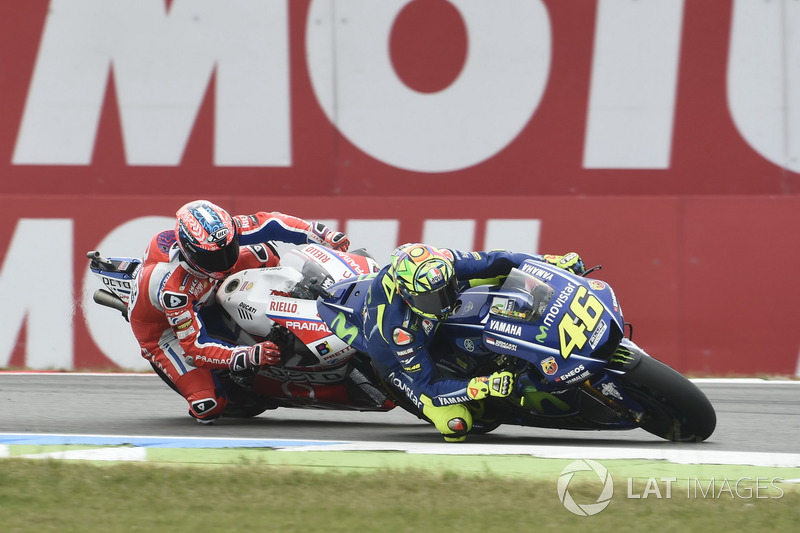 Valentino Rossi, Yamaha Factory Racing, overtakes Danilo Petrucci, Pramac Racing