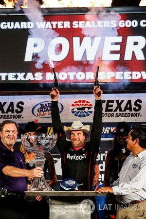 Will Power, Team Penske Team Penske Chevrolet in victory lane with guns