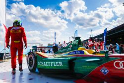 Lucas di Grassi, ABT Schaeffler Audi Sport, walks away from his car after the race