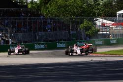 Esteban Ocon, Sahara Force India VJM10, Sergio Perez, Sahara Force India VJM10, Sebastian Vettel, Ferrari SF70H