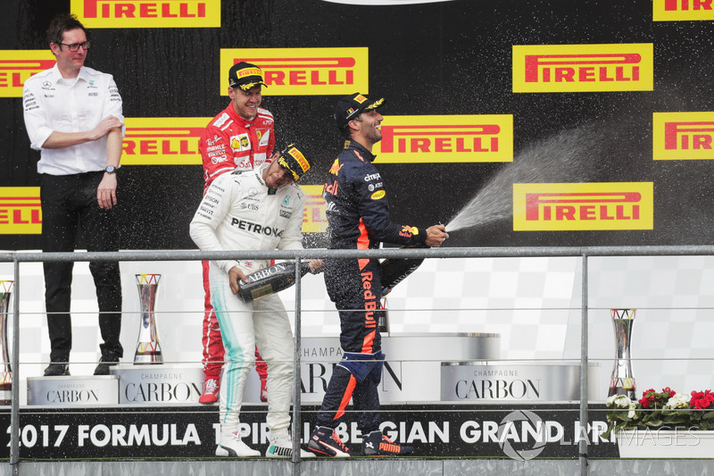 Podium: second place Sebastian Vettel, Ferrari, Race winner Lewis Hamilton, Mercedes AMG F1, third place Daniel Ricciardo, Red Bull Racing