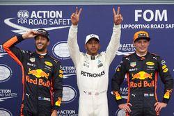 Polesitter Lewis Hamilton, Mercedes AMG F1, 2. Max Verstappen, Red Bull, 3. Daniel Ricciardo, Red Bu