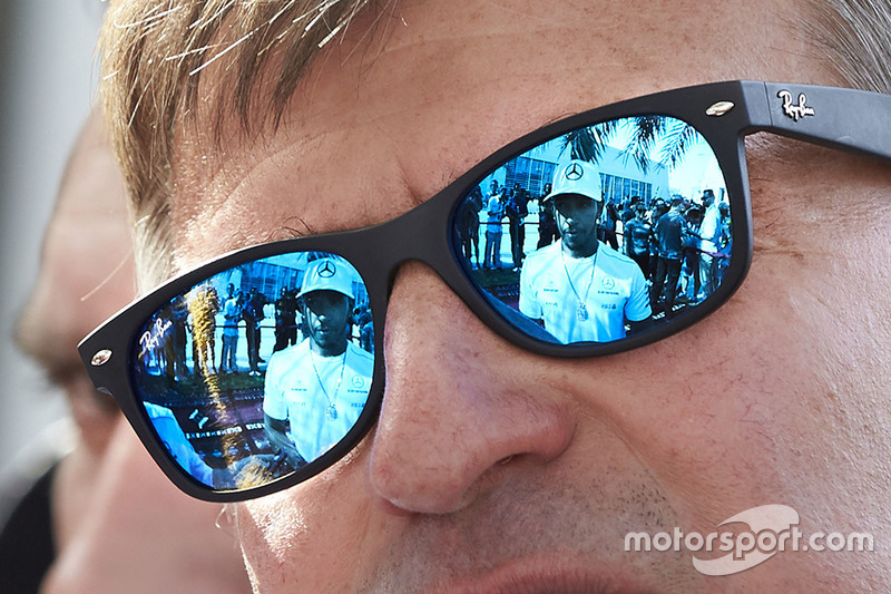Lewis Hamilton, Mercedes AMG is reflected in sunglasses