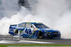 Jimmie Johnson, Hendrick Motorsports Chevrolet celebrates his win with a burnout
