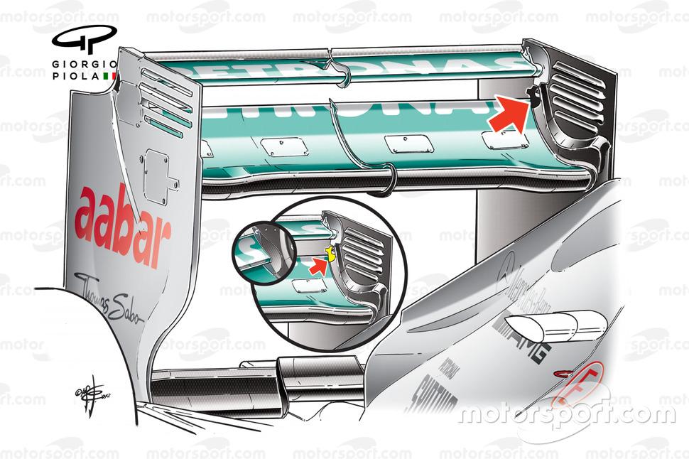 Mercedes W03 rear wing double DRS